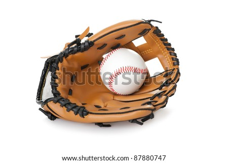 Image of baseball inside glove isolated on white background