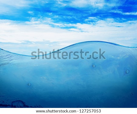 Image of beautiful blue sunny sky with clouds reflected in the water
