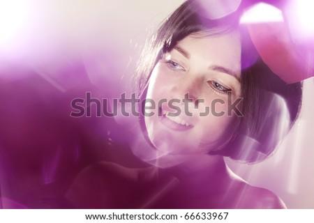 Image of beautiful girl in fancy dress - stock photo