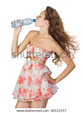 image of beautiful girl with bottle of water