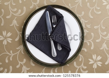 Image of black dinner setting