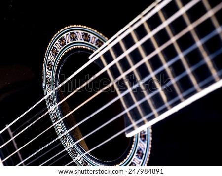 Image of black guitar, background.
