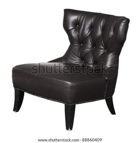 Image of black luxury chair isolated on white background with clipping path