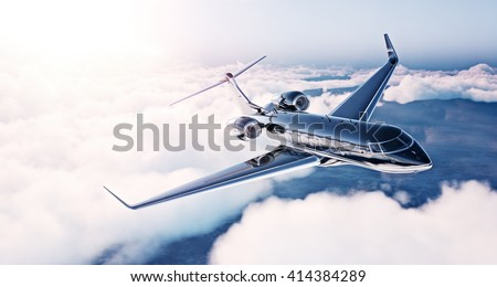 Image of black luxury generic design private jet flying in blue sky at sunrise. Huge white clouds background. Business travel concept. Horizontal , front view. 3d rendering