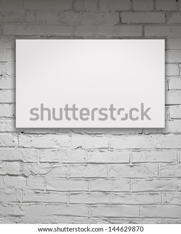 Image of blank billboard over white brick wall - stock photo