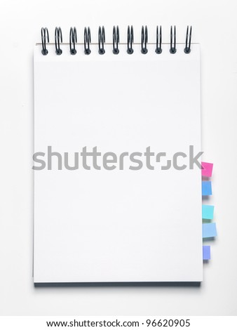 Image of blank notebook with bookmarks