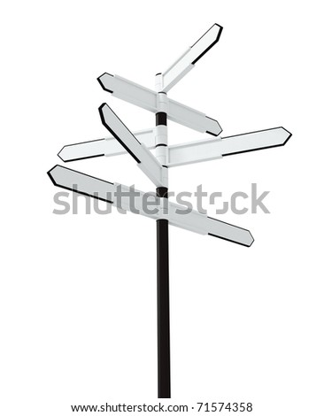 Image of blank signpost isolated over white