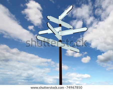 Image of blank signpost over blue sky