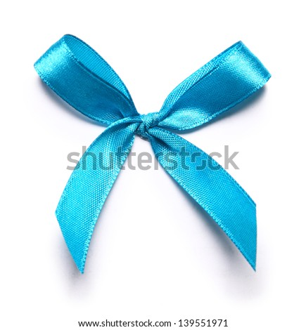 Image of blue bow over white