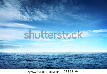 Image of blue sky and sea