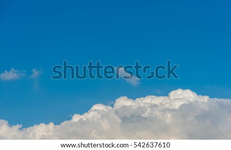 image of blue sky and white cloud on day time for background usage