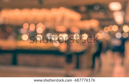 image of blur people at food center in mall with bokeh  for background usage . (vintage tone) #687776176