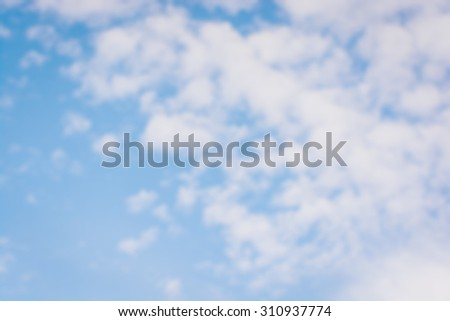 Image of Blur Sky style blurred nature background of blue sky and soft scattered clouds