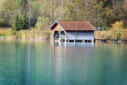 Image of boathouses at lake Kochelsee in Bavaria, Germany