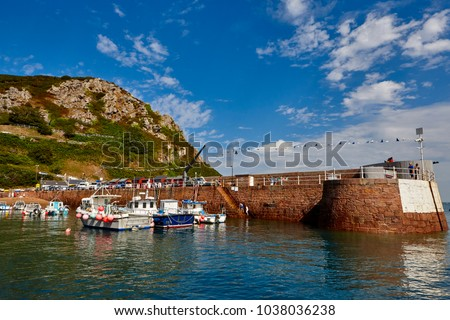 Image of Bonne Nuit Harbour in the summer. Small drying harbour on the North Coast of Jersey, Channel Islands