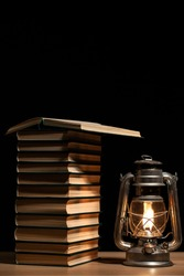 image of book lamp dark background