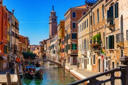 Image of bright colorful houses on Venetian lagoon, Venice, Italy