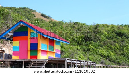 Image of bright outstanding colorful house - stock photo