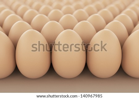 Image of brown eggs arranged in rows. Perfect for anything related to healthy food, easters, eggs production and food industry in geneneral.