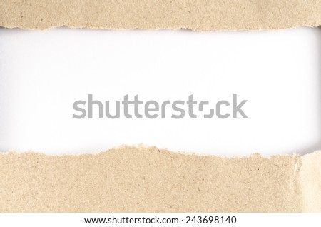 Image of brown paper ripped on white paper background