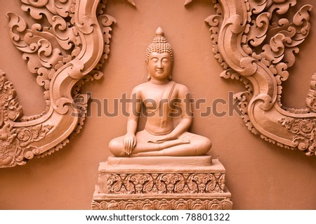image of buddha statue in Thai temple - stock photo