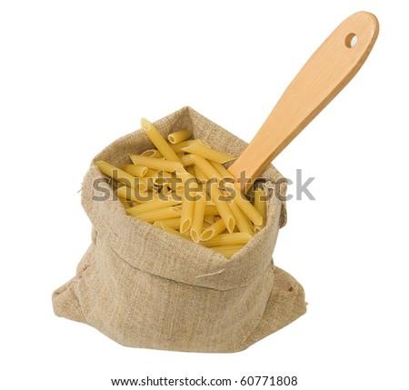 image of burlap sack  full with raw italian macaroni