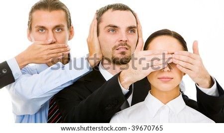 Image of business partners closing eyes, mouth and ears of each other