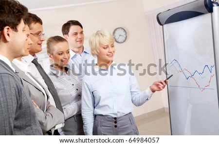 Image of business partners looking at whiteboard and listening to smart employee in office