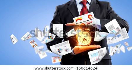 Image of businessman holding alarmclock against illustration background. Collage