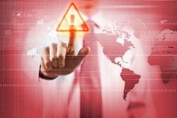 Image of businessman touching virus alert icon
