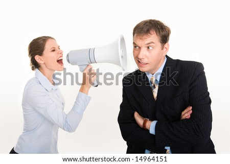 Image of businesswoman screaming by megaphone and businessman listening to her voice
