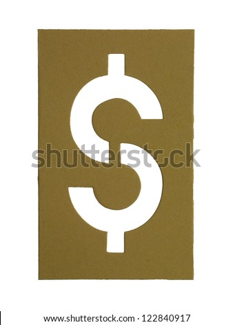 Image of cardboard cut out dollar sign against white background