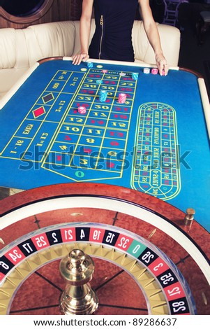Image of casino roulette wheel and table - stock photo