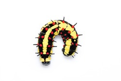 Image of caterpillars of common mime isolated on white background. Animal. Insect.