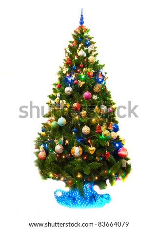 Image of Christmas fir tree decorated - stock photo