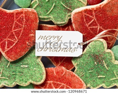 Image of christmas tag with christmas cookies