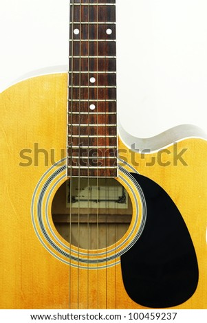 Image of classic guitar on white background.