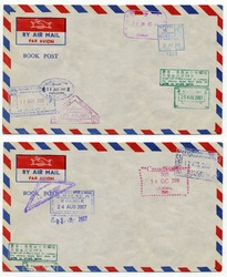 image of classic vintage air mail envelope with stamp