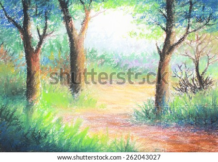 image of colorful tree in the forest  by  pastel color original painting on paper  for decoration or background