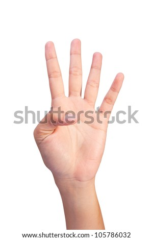 Image of Counting woman's left hands finger number (4 or 9)  isolated on white background