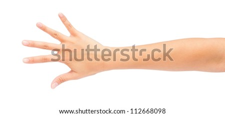Image of Counting woman's left hands finger number (5 or10) isolated on white background