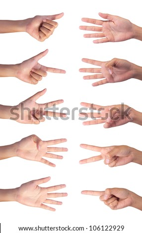 Image of Counting woman's right  hands finger number (1 to 10 ) isolated on white background