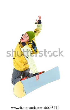 Image of courageous guy jumping on snowboard in the air
