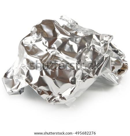 image of crumpled foil closeup  #495682276