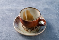Image of Cup of Coffee finish drinking, empty dirty cup from drunk coffee
