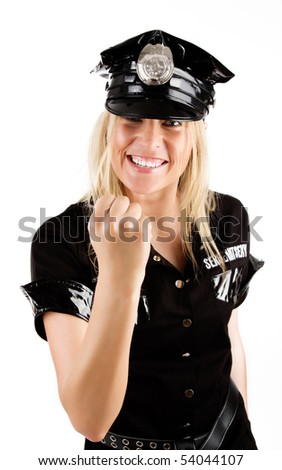 Image of cute angry girl in police uniform