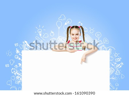 Image of cute girl with blank white banner. Place for text