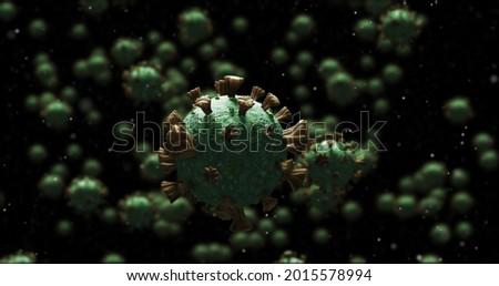 Image of 3D coronavirus Covid 19 cells spinning and spreading on dark background. Global coronavirus pandemic concept digitally generated image.