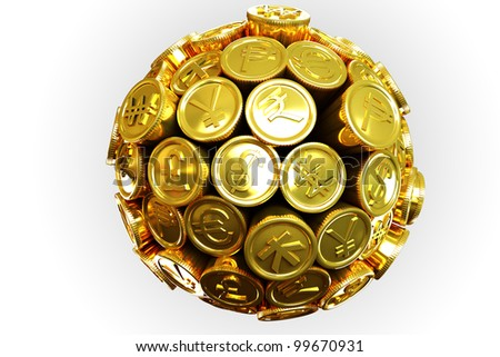 image of 3d gold coin of different currency around sphere