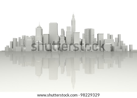 image of 3d render of city scape with skyscraper